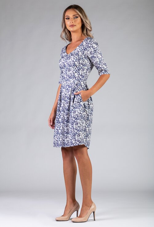Rochie bleu cu imprimeu floral