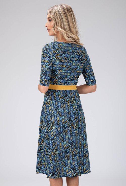 Rochie bleumarin cu imprimeu abstract si cordon galben
