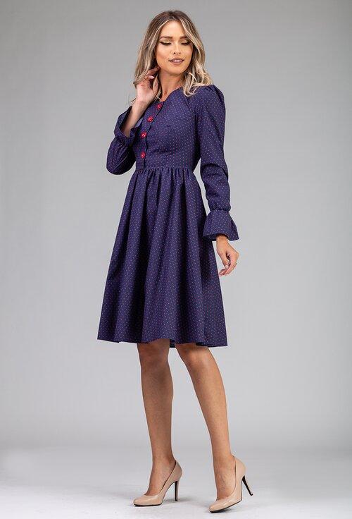Rochie bleumarin cu imprimeu cu picatele