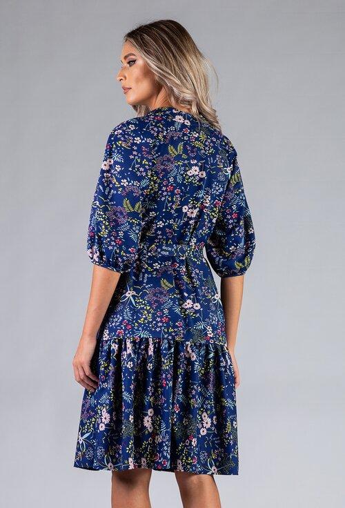 Rochie bleumarin cu imprimeu floral