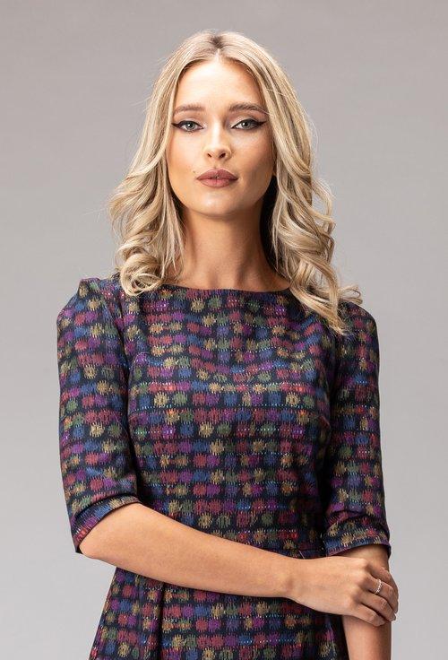 Rochie bleumarin din bumbac cu imprimeu multicolor