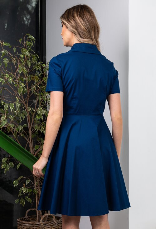 Rochie bleumarin din bumbac cu nasturi
