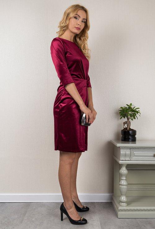 Rochie burgundy din catifea Emily