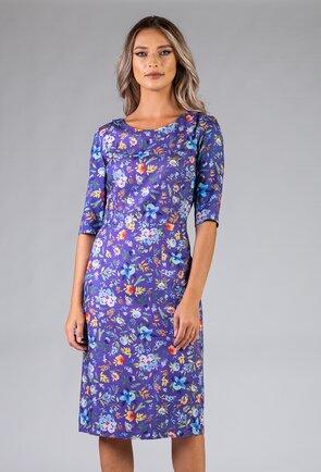 Rochie conica nuanta mov-bleu cu imprimeu floral
