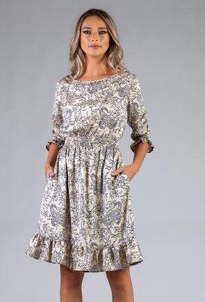 Rochie crem cu imprimeu floral prevazuta cu volan
