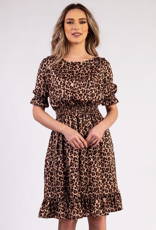 Rochie cu animal print prevazuta cu volan