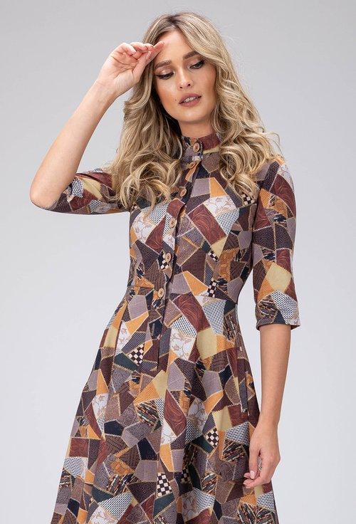 Rochie cu imprimeu abstract din bumbac cu nasturi in fata
