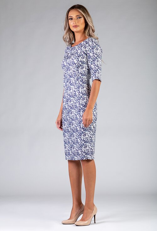 Rochie cu imprimeu floral bleu