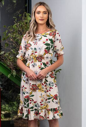 Rochie cu imprimeu floral cu detaliu volan si buzunare