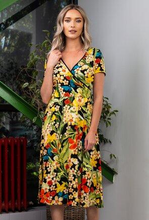 Rochie cu imprimeu floral in diferite nuante