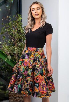 Rochie cu imprimeu floral multicolor si buzunare