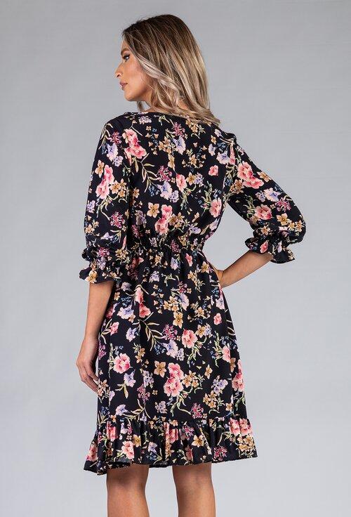 Rochie cu imprimeu floral prevazuta cu volan