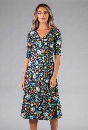 Rochie cu imprimeu floral si decolteu in V