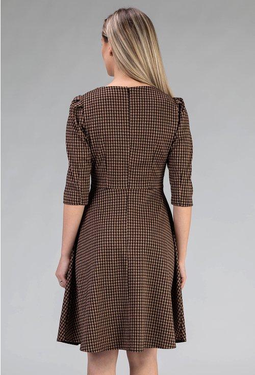 Rochie cu picatele in nuante de maro si negru