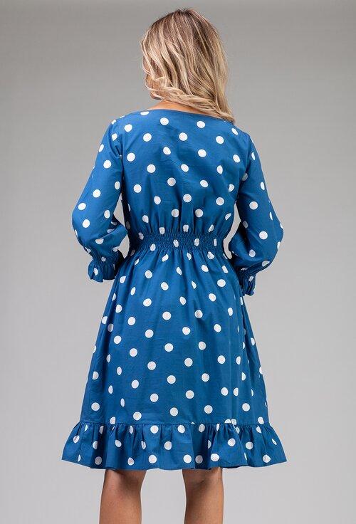 Rochie din bumbac albastra cu buline