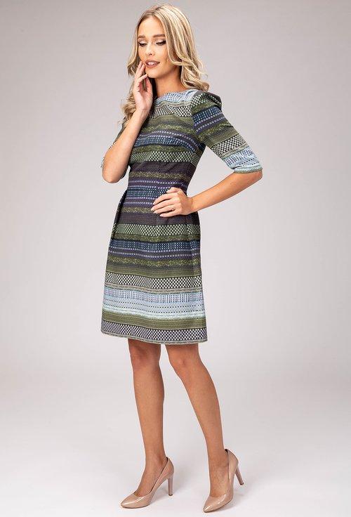 Rochie din bumbac cu imprimeu abstract verde si albastru