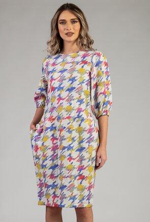 Rochie din bumbac cu imprimeu colorat