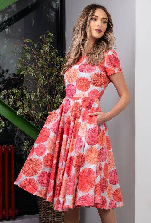 Rochie din bumbac cu imprimeu floral in nuante de portocaliu si roz