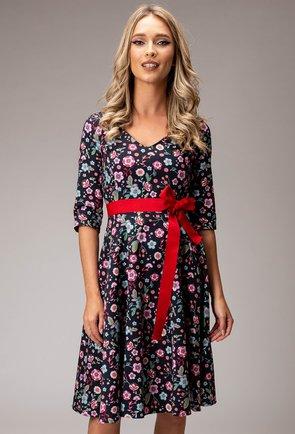 Rochie din bumbac cu imprimeu floral si cordon in talie