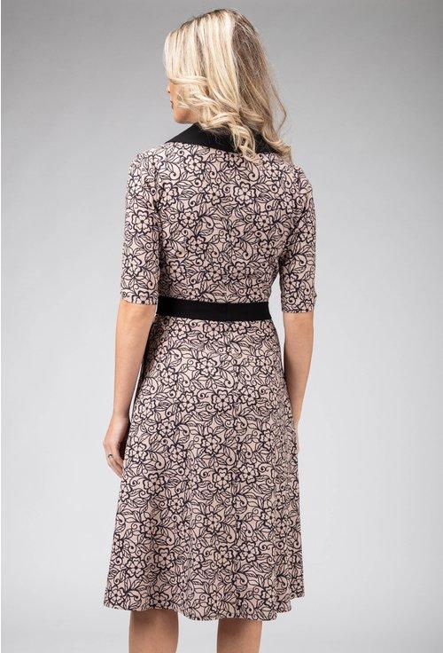Rochie din bumbac cu imprimeu floral si rever negru