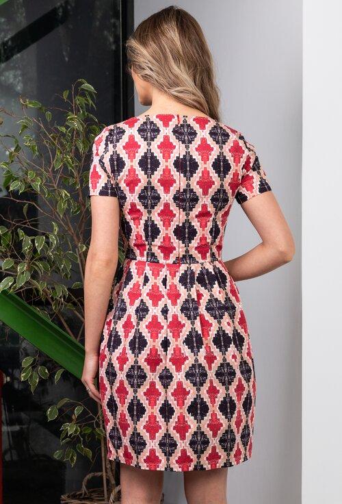 Rochie din bumbac cu imprimeu geometric