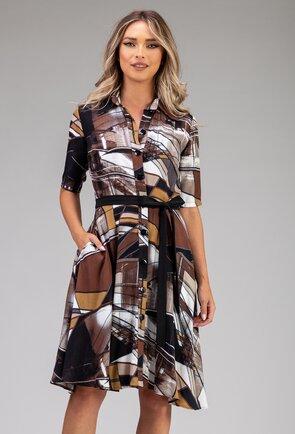 Rochie din bumbac maro cu imprimeu abstract