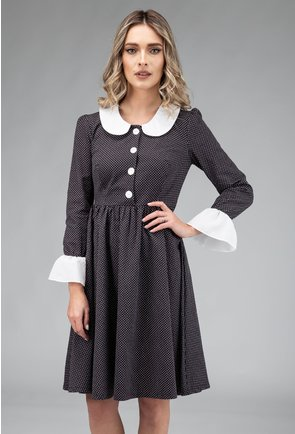 Rochie din bumbac neagra cu buline mici albe