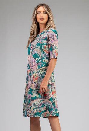 Rochie din bumbac organic cu imprimeu astract