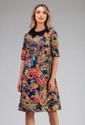 Rochie din bumbac organic cu imprimeu colorat