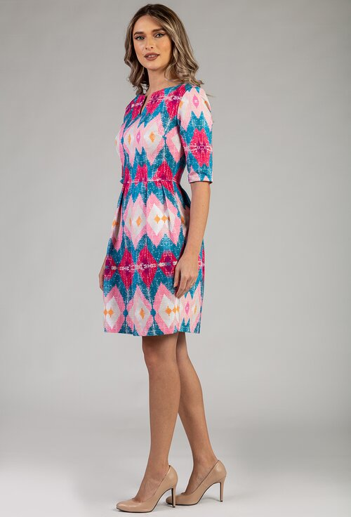Rochie din bumbac organic cu imprimeu colorat cu roz si albastru