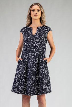 Rochie din bumbac organic cu imprimeu cu picatele