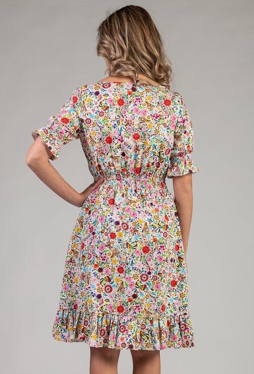 Rochie din bumbac organic cu imprimeu floral multicolor