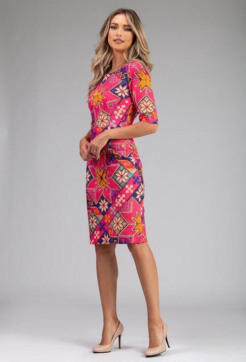 Rochie din bumbac organic roz cu imprimeu traditional