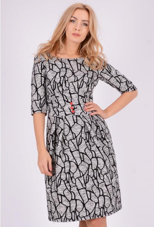 Rochie din lana cu imprimeu alb/negru Brista