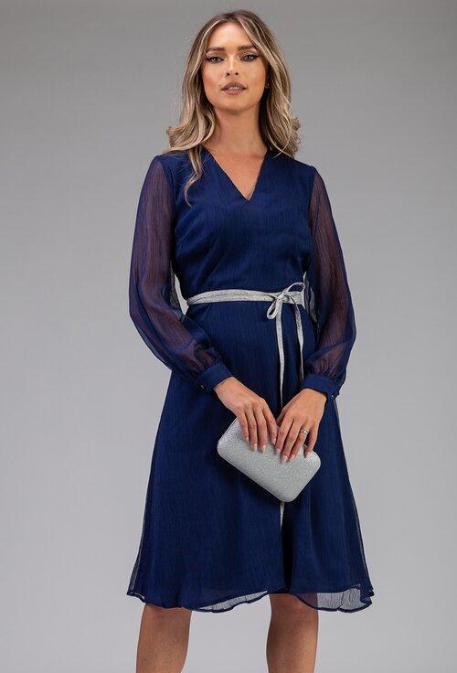 Rochie eleganta albastra cu cordon in talie