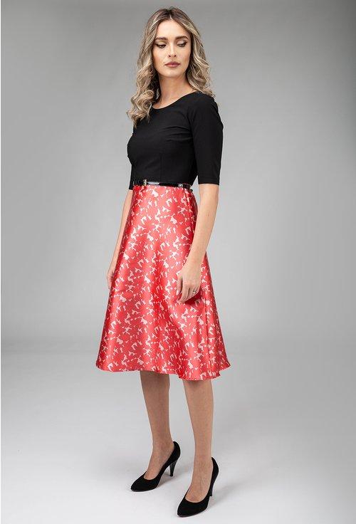 Rochie eleganta cu negru si nuanta roz zmeura