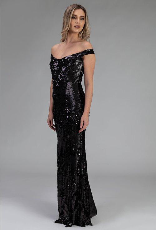 Rochie eleganta lunga cu paiete si umerii goi