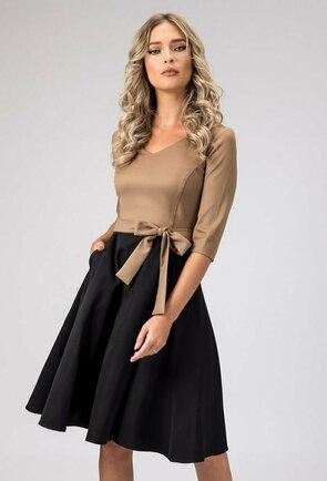 Rochie eleganta maro cu negru cu buzunare