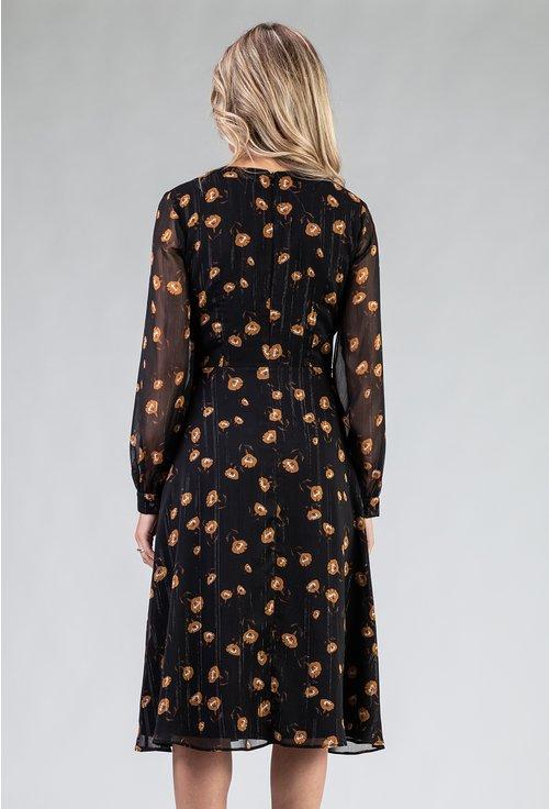 Rochie eleganta neagra cu imprimeu floral
