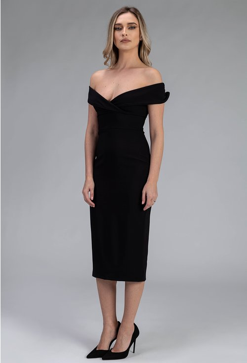 Rochie eleganta neagra mulata pe corp si umerii goi