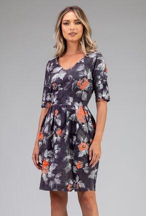 Rochie gri inchis cu imprimeu floral cu buzunare