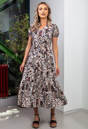 Rochie lunga crem cu imprimeu floral