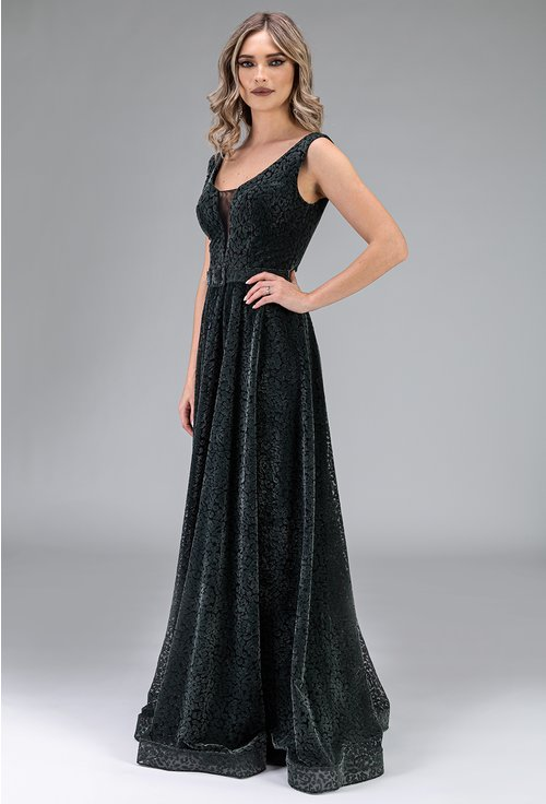 Rochie lunga din catifea nuanta verde inchis