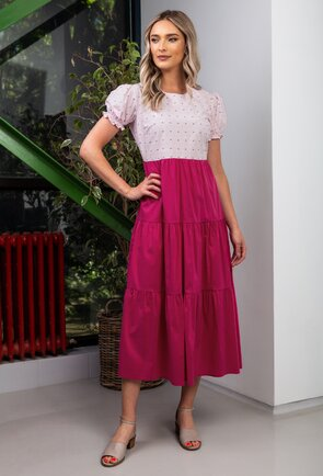 Rochie lunga in nuante de roz pal si roz fuchsia