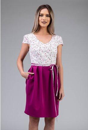 Rochie magenta cu imprimeu cu picatele si buzunare