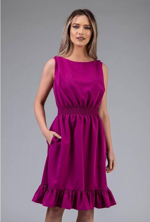 Rochie magenta cu volan si elastic in talie