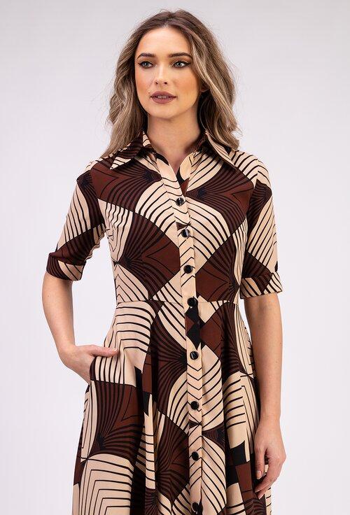 Rochie maro cu imprimeu abstract