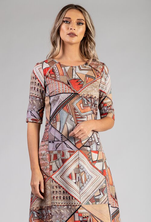 Rochie maro cu imprimeu abstract confectionata din bumbac