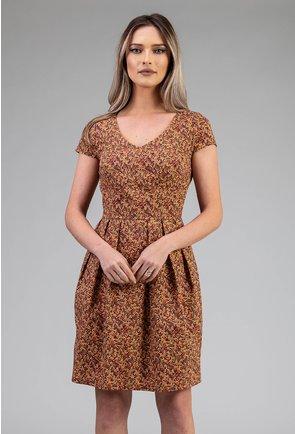 Rochie maro din bumbac cu imprimeu floral