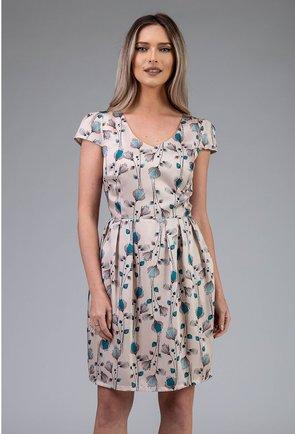Rochie matasoasa bej deschis cu imprimeu floral